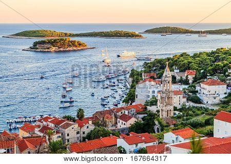 Landscape photo of Hvar town harbor in Croatia
