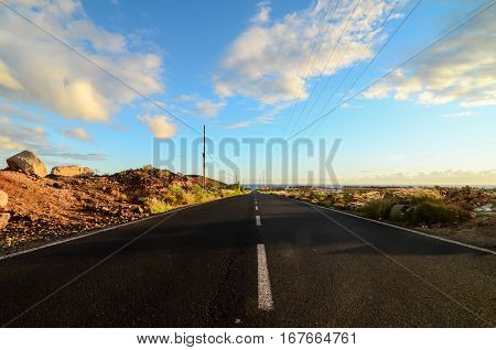 Lonely Road In The Desert