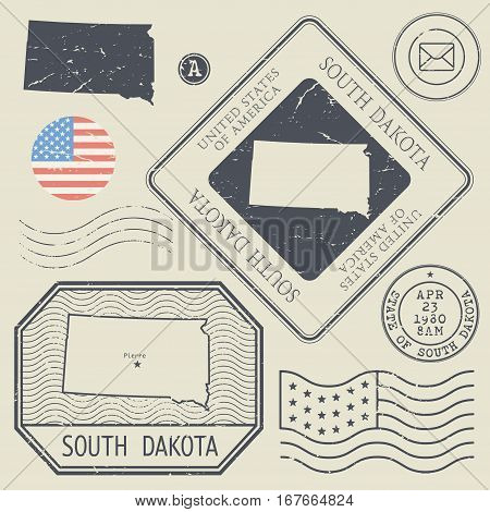 Retro vintage postage stamps set South Dakota United States theme vector illustration