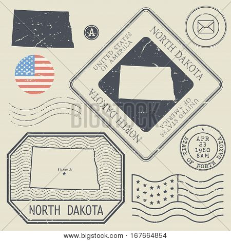 Retro vintage postage stamps set North Dakota United States theme vector illustration