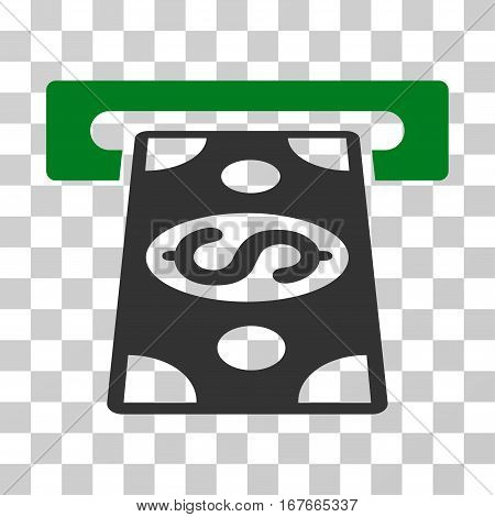 Cash Withdraw icon. Vector illustration style is flat iconic bicolor symbol green and gray colors transparent background. Designed for web and software interfaces.