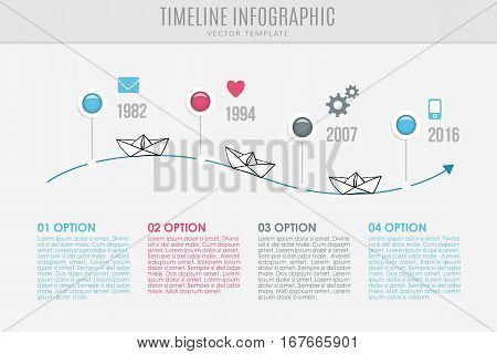 Timeline report template with buttons, icons and sketch of paper boats, vector illustration infographic background.