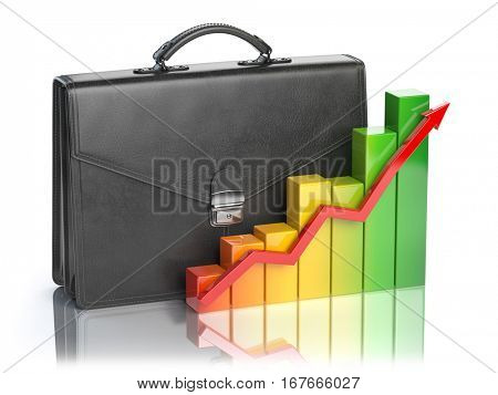 Growth of stock market portfolio concept. Briefcase and graph isolated on white background. 3d illustration