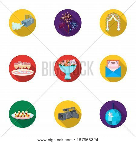 Event service set icons in flat design. Big collection of event service vector symbol stock illustration