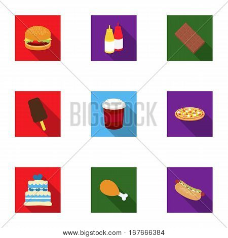 Fast food set icons in flat style. Big collection of fast food vector symbol stock