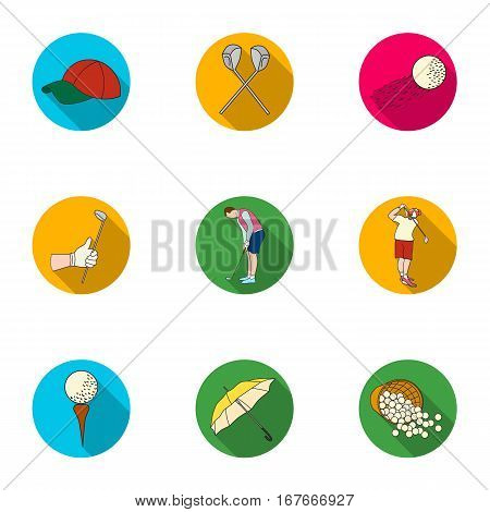 Golf club set icons in flat design. Big collection of golf club vector symbol stock illustration