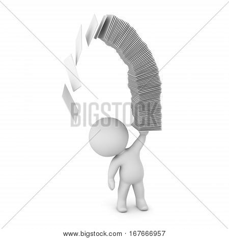 A 3D character holding up a stack of papers that is falling over. Isolated on white background.