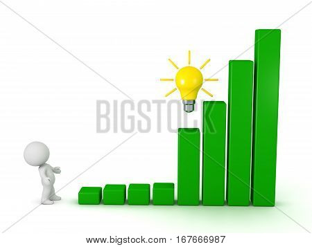 A 3D character looking up at a bar chart with an idea light bulb. Isolated on white background.