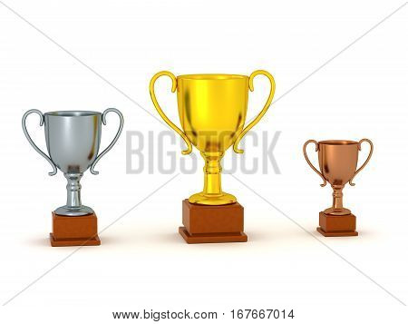 Three 3D trohpies of different sizes. Isolated on white background.