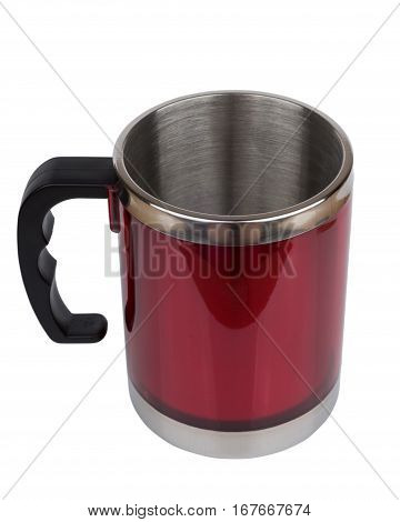 Red Steel Thermo Mug With Black Plastic Handle