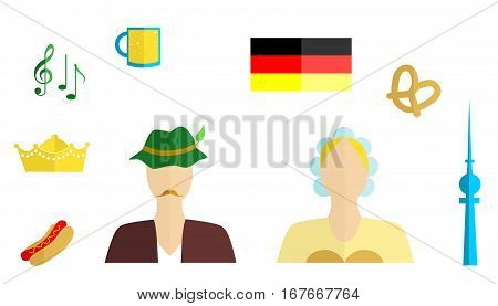 set of icons in the style of a flat design on the theme of germany.