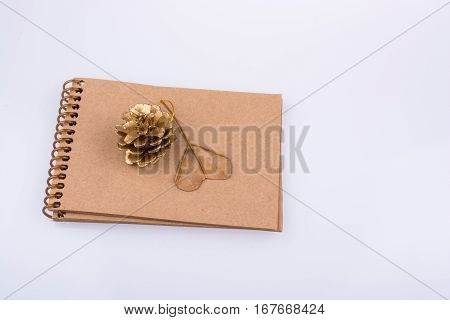 Heart Shaped Leaf,  Pine Cone And A Notebook On