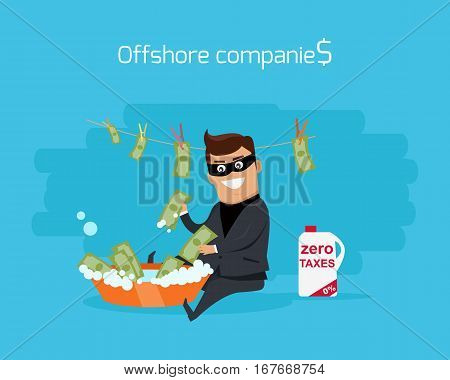 Offshore companies concept vector. Flat design. Financial crime, tax evasion, money laundering, political corruption illustration. Man in a business suit, in mask washes the money in bowl with water.