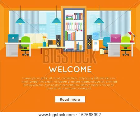 Welcome office banner. Office interior background. Modern office interior with desktop, laptop, bookcase, lamp, audio speakers, office chair and water cooler in flat. Office room against the window.