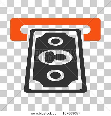 Cashpoint Terminal icon. Vector illustration style is flat iconic bicolor symbol orange and gray colors transparent background. Designed for web and software interfaces.