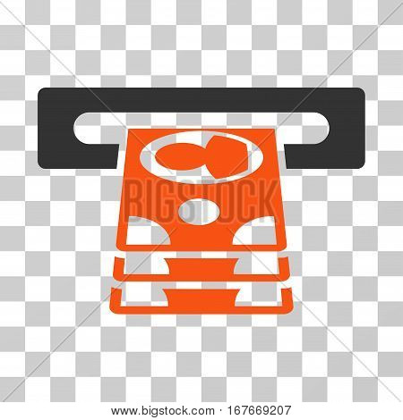 Cashpoint icon. Vector illustration style is flat iconic bicolor symbol orange and gray colors transparent background. Designed for web and software interfaces.