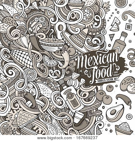 Cartoon cute doodles hand drawn Mexican food frame design. Line art detailed, with lots of objects background. Funny vector illustration. Sketchy border with latin american cusine theme items