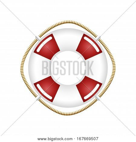 Lifebuoy Isolated on White,Travel Concept, Ship Equipment