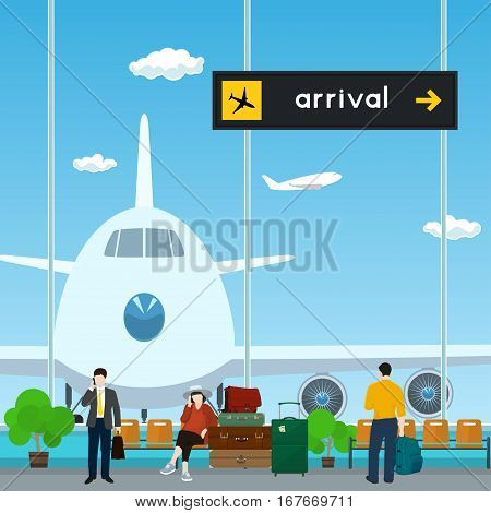 Airport, a Waiting Room with People ,View on Airplane through the Window from a Waiting Room,Scoreboard Arrivals at Airport ,Travel Concept ,Flat Design