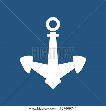 Anchor Isolated on Blue ,Ship Equipment, Illustration