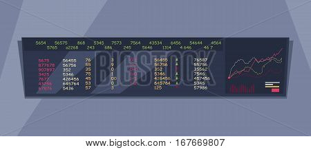 Monitoring stock exchange indexes vector. Flat style design. Online training instruments concept. Financial indexes in real time illustration. Giant long monitor with exchange rates and graphs.