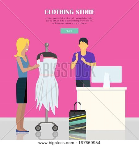 Clothing store illustration. Woman make her purchases in clothing shop. Female clothing store illustration. Man behind counter of store. People shopping, marketing people. Website template.