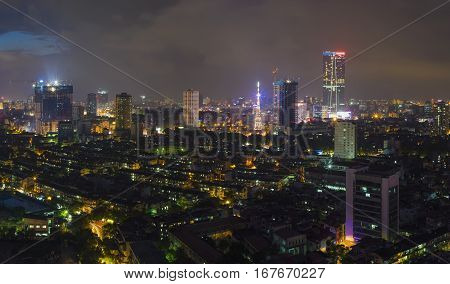 Aerial View Of Urban Skyline At Twilight. Hanoi Cityscape. Thanh Cong Collective Building Quarter