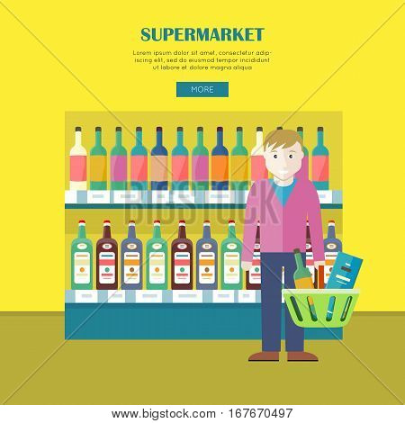 Supermarket concept web banner. Flat design. Smiling man character with basket full of goods near shelve with drinks in grocery store. Consumers choice and assortment illustration for web page design.