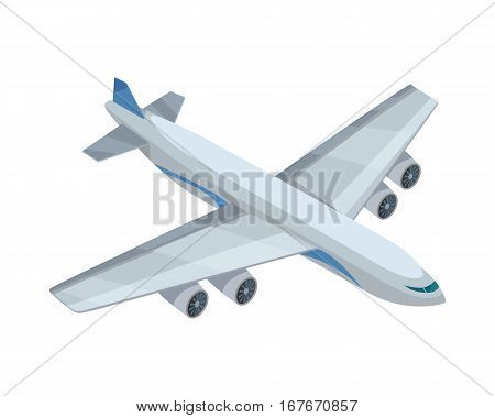 Airplane isometric projection icon. Passenger aircraft vector illustration isolated on white background. Air transportation. For game environment, transport infographics, company logo, web design
