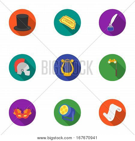 Theater set icons in flat style. Big collection of theater vector symbol stock