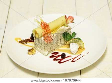 Cake With Wafer Roll