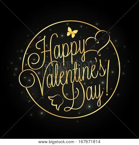 Happy Valentine's Day golden lettering over starry night background for your greeting card design