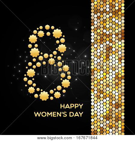 March 8. Happy Women's Day golden shimmer background made of abstract spangles for your greeting card design