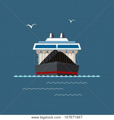 Front View of the Dry Cargo Ship at Sea, Industrial Marine Vessel is Transporting Coal and Ore, International Freight Transportation