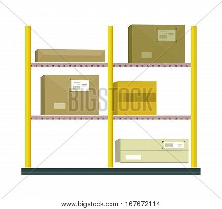 Shelf with cartoon box. Box and cartoon, shelving and carton box, paper box, racks with boxes, cartoon frame, warehouse storage with box, cardboard container, cargo cartoon box illustration in flat