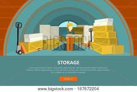 Storage conceptual vector web banner. Flat style. Man in uniform working with goods in warehouse.  Illustration for delivery online services, startups, corporate web sites, landing pages design