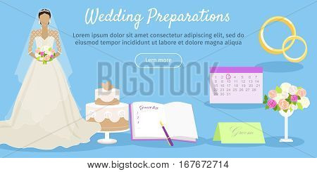 Wedding preparations web banner. Get ready for the wedding day. Preparation for the marriage ceremony. Planning everything ahead. Choosing the date, place, decoration, restaurant menu. Vector