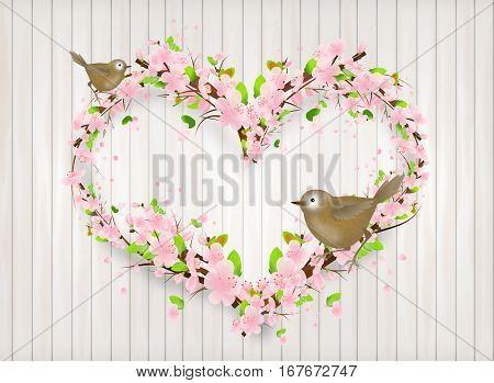 Illustration of heart set of light pink blossoms on light background decorated with birds