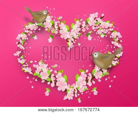 Illustration of heart set of light pink blossoms decorated with two birds on light pink background