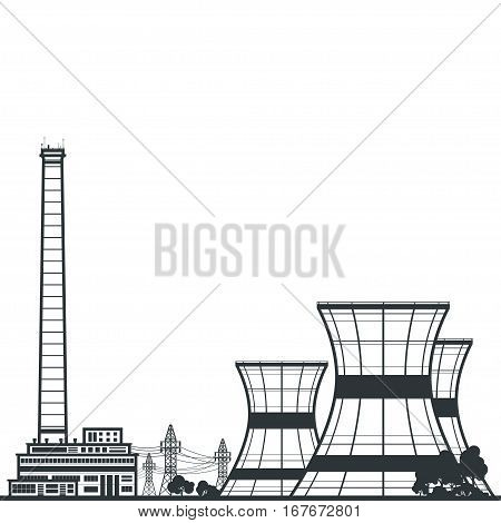Silhouette Nuclear Power Plant, Thermal Power Station and Text, Nuclear Reactor and Power Lines, Illustration