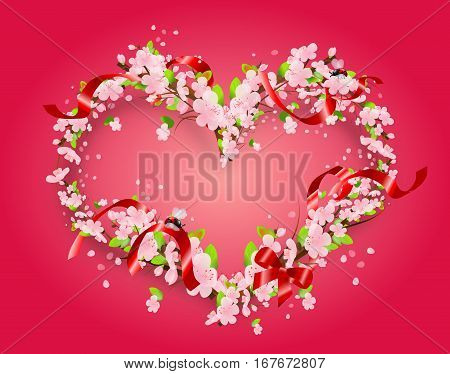 Illustration of heart set of light pink blossoms on light pink background decorated with red ribbon