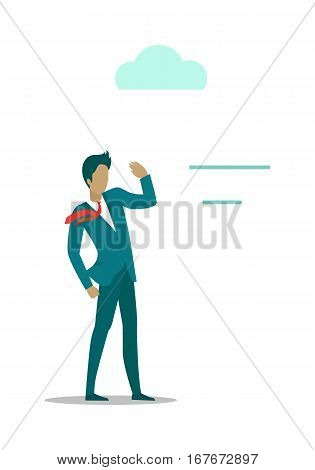 Breeze gentle wind blowing on young man. Male standing isolated on white background. Light wind blows on him. Land breeze. Cool wind from the sea. Recreation. Vector illustration in flat style