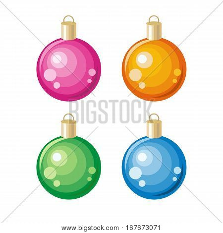Set of Christmas toys. Christmas ornament decoration made of glass, metal, wood, ceramics used to festoon Christmas tree. Flat design. New Year celebrating. Winter holidays symbol. On white background