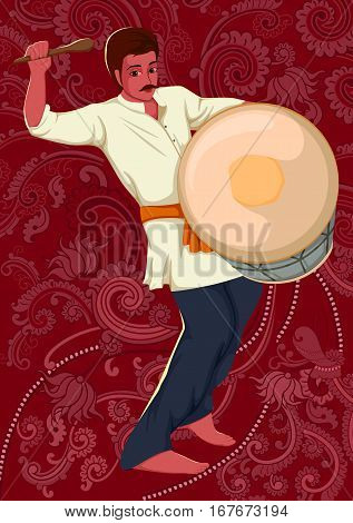 Vector design of artist playing Dhol folk music of India on floral background