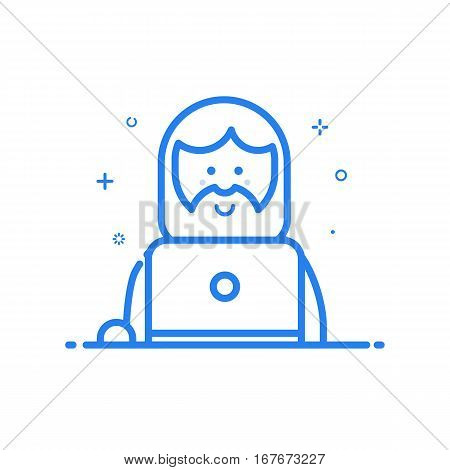 Vector illustration of blue icon in flat line style. Linear whistling hiptser man with beard and laptop. Graphic design concept of social networking. Outline isolated object.