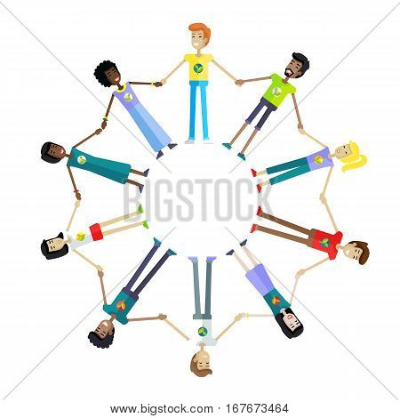 Happy people holding hands around on white background. Men and women holding hands around. People from various ethnic group. Round frame. Isolated object on white background. Vector illustration.