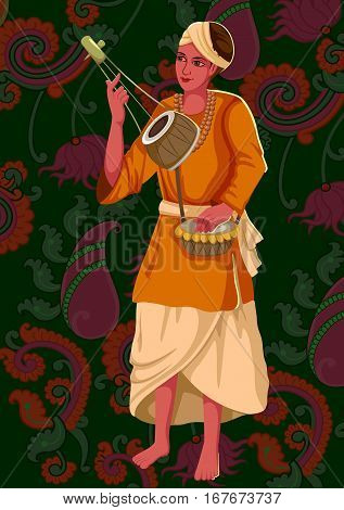 Vector design of artist playing Ektara folk music of India on floral background