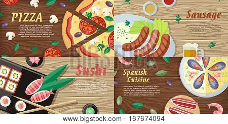 Pizza. Sushi. Sausage. Spanish cuisine. National dishes and drinks. Food web banners horizontal concepts. German, Japanese, Italian, Spanish cuisine famous meals. For restaurants page restaurant menu