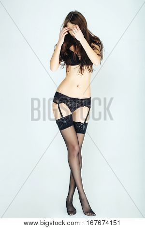 Woman In Stockings And Panties