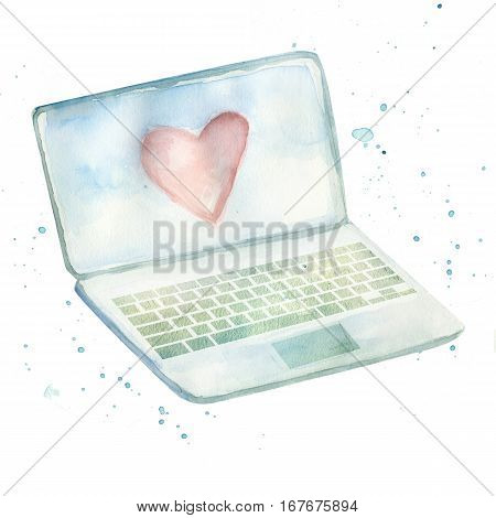 laptop with heart on screen on white background